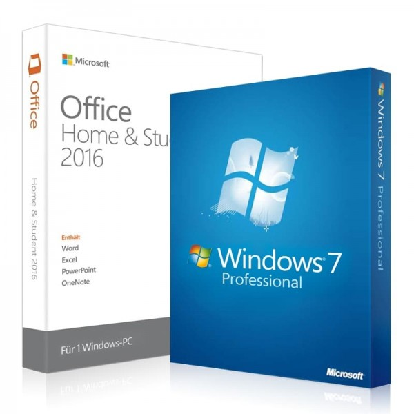 Windows 7 Professional + Office 2016 Home & Student + Lizenzschlüssel