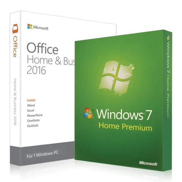Windows 7 Home Premium + Office 2016 Home & Business + Lizenzschlüssel