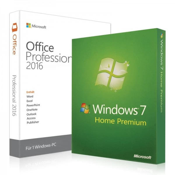 Windows 7 Home Premium + Office 2016 Professional + Lizenzschlüssel