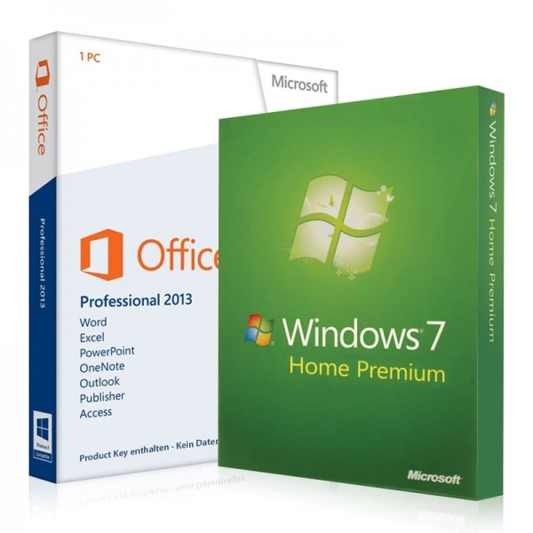 Windows 7 Home Premium + Office 2013 Professional + Lizenzschlüssel