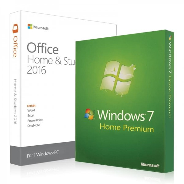 Windows 7 Home Premium + Office 2016 Home & Student + Lizenzschlüssel