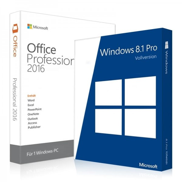 Windows 8.1 Pro + Office 2016 Professional