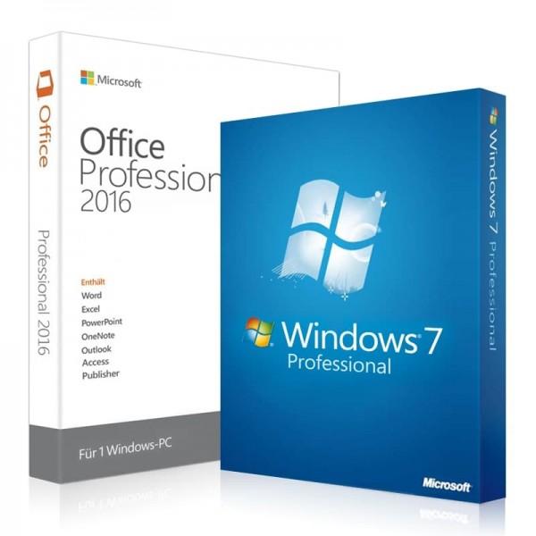 Windows 7 Professional + Office 2016 Professional+ Lizenzschlüssel